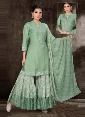 Green Cotton Silk Readymade Suit
