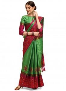 Green Cotton Silk Traditional Saree