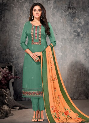Green Cotton Straight Suit
