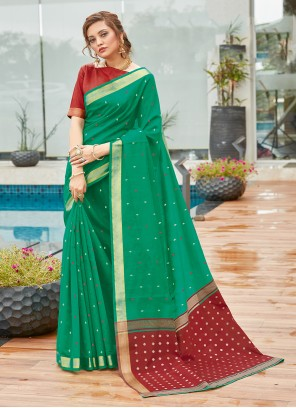 Green Cotton Weaving Zari Traditional Saree