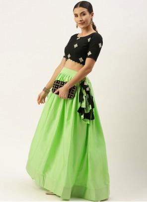 Green Cotton Wedding A Line Lehenga Choli