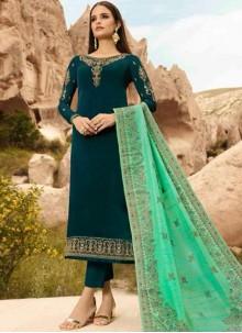 Green Designer Straight Suit