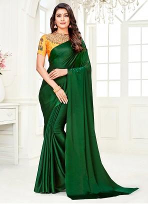 Green Diamond Faux Chiffon Trendy Saree