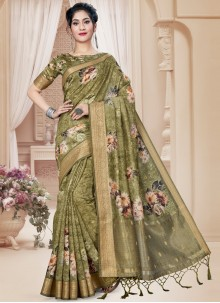 Green Digital Print Art Silk Saree