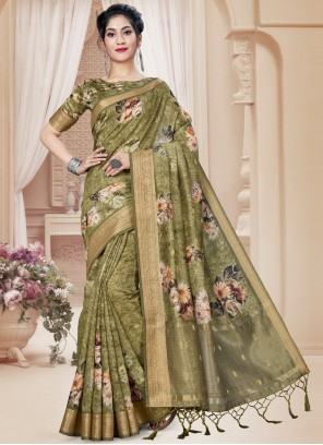 Green Digital Print Art Silk Saree