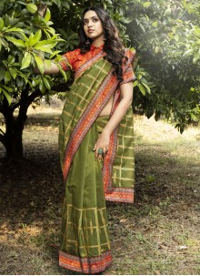 Green Digital Print Chanderi Traditional Designer Saree