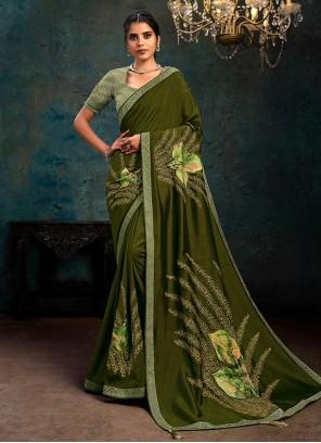 Green Digital Print Classic Designer Saree