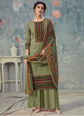 Green Digital Print Cotton Designer Palazzo Suit