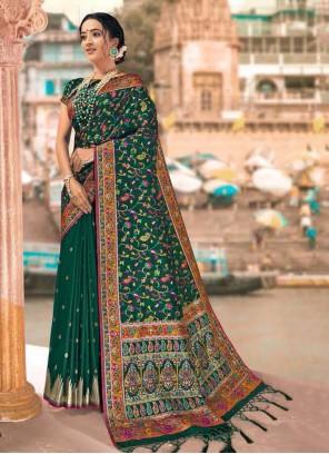 Green Digital Print Designer Saree