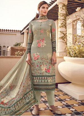 Green Digital Print Silk Designer Pakistani Suit