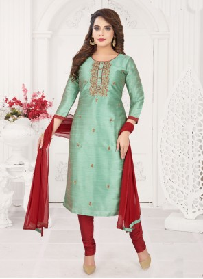 Green Embroidered Art Silk Churidar Salwar Kameez