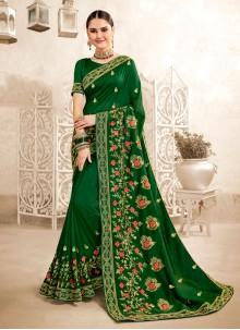 Green Embroidered Art Silk Designer Saree
