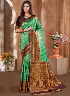 Green Embroidered Art Silk Designer Traditional Saree