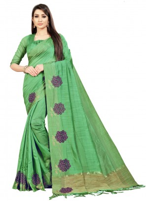 Green Embroidered Bollywood Saree