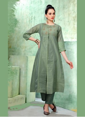 Green Embroidered Casual Kurti