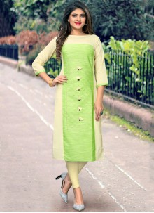 Green Embroidered Casual Party Wear Kurti