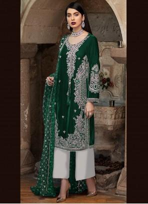 Green Embroidered Ceremonial Designer Pakistani Suit