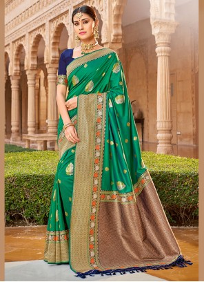 Green Embroidered Ceremonial Traditional Saree