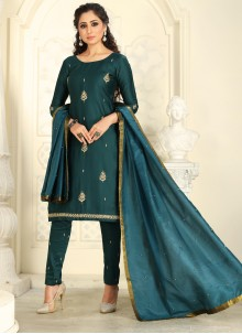 Green Embroidered Chanderi Cotton Pant Style Suit