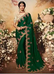 Green Embroidered Chiffon Satin Designer Traditional Saree