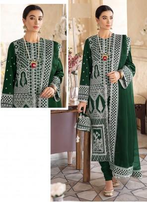 Green Embroidered Churidar Designer Suit