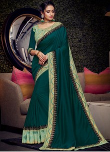 Green Embroidered Classic Designer Saree