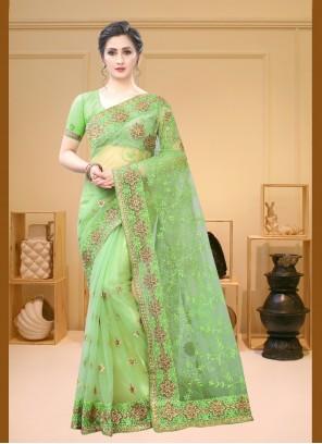 Pista Green Embroidered Contemporary Saree