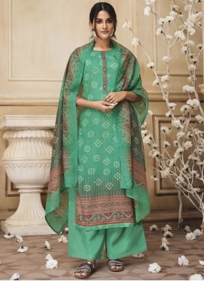Green Embroidered Cotton Designer Salwar Kameez