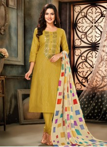 Yellow Embroidered Cotton Trendy Salwar Suit