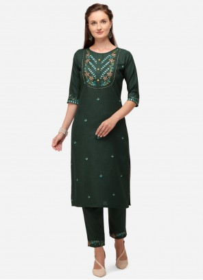 Green Embroidered Designer Kurti