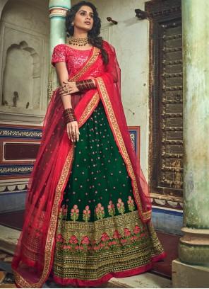 Green Embroidered Designer Lehenga Choli