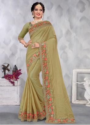 Green Embroidered Engagement Designer Saree