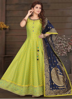 Green Embroidered Engagement Readymade Suit