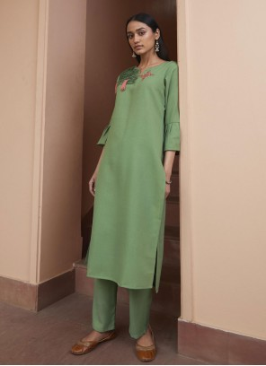 Green Embroidered Fancy Fabric Party Wear Kurti