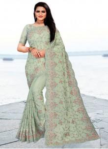 Green Embroidered Faux Chiffon Classic Designer Saree
