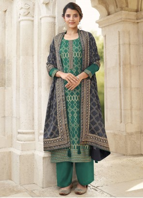 Green Embroidered Faux Chiffon Designer Palazzo Salwar Suit