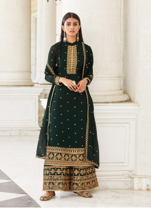 Green Embroidered Faux Georgette Designer Palazzo Salwar Suit