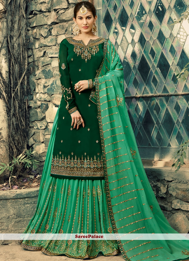 Green Embroidered Faux Georgette Palazzo Salwar Kameez