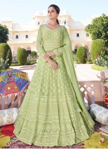 Green Embroidered Faux Georgette Readymade Anarkali Suit