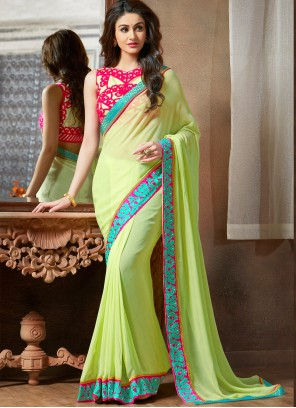 Green Embroidered Faux Georgette Saree