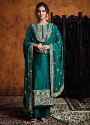 Green Embroidered Festival Designer Palazzo Salwar Suit