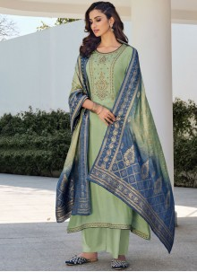 Green Embroidered Festival Designer Palazzo Suit