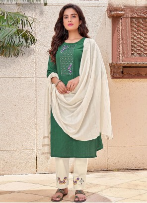 Green Embroidered Festival Pant Style Suit