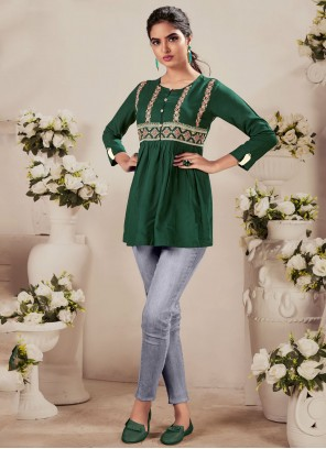 Green Embroidered Festival Party Wear Kurti