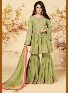Green Embroidered Festival Readymade Suit