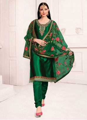 Green Embroidered Festival Salwar Kameez