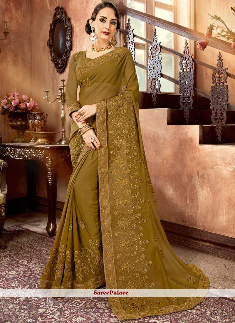 Green Embroidered Festival Saree