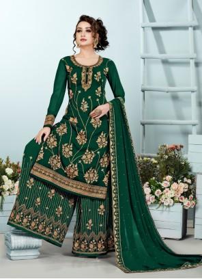 Green Embroidered Georgette Designer Pakistani Suit