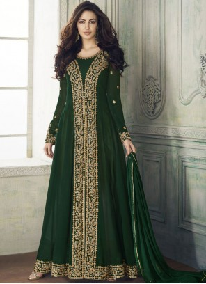 Green Embroidered Georgette Designer Salwar Kameez