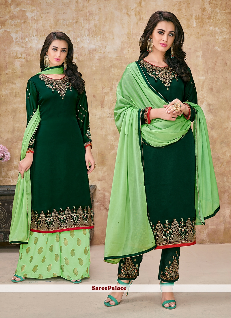 ffa116a6fdc Buy Green Embroidered Georgette Satin Designer Suit Online